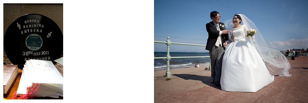 Bride and groom portraits on Portobello beach