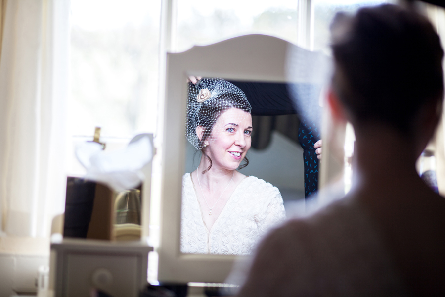 Bride getting ready at Cringletie House wedding near Edinburgh