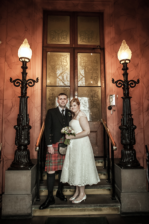 Bride and groom at Royal College of Physicians of Edinburgh