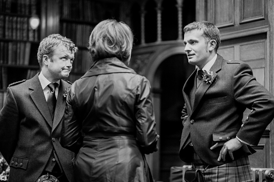 Groom before the ceremony at Royal College of Physicians of Edinburgh