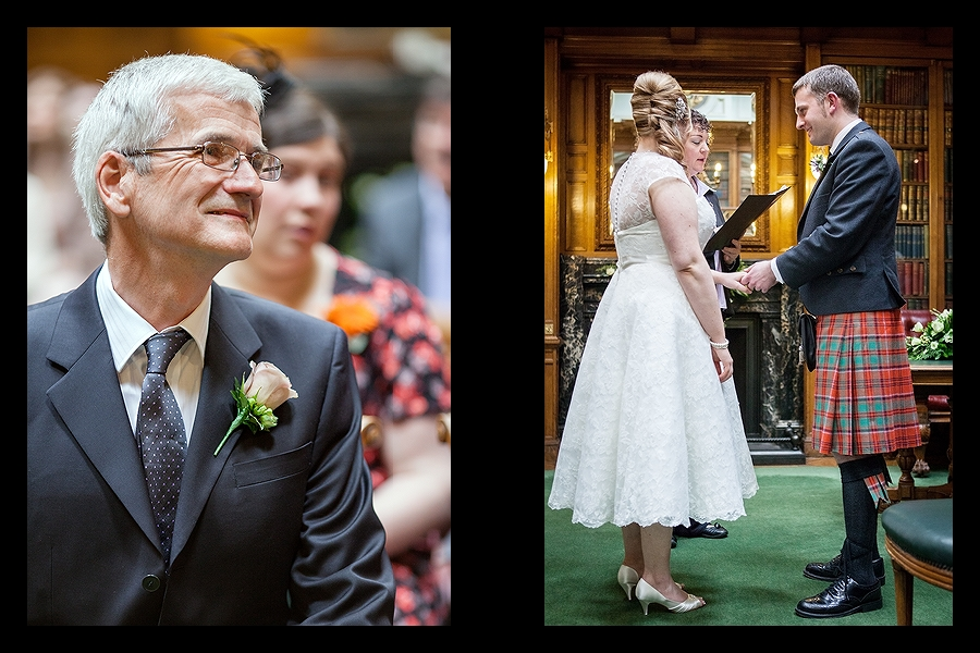 Bride and groom during the wedding ceremony at Royal College of Physicians of Edinburgh