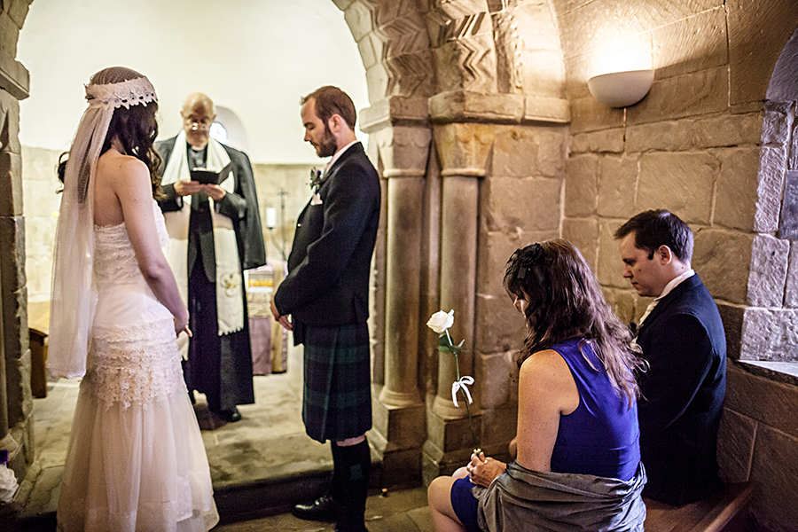 Wedding ceremony at St. Margarets Chapel at Edinburgh Castle