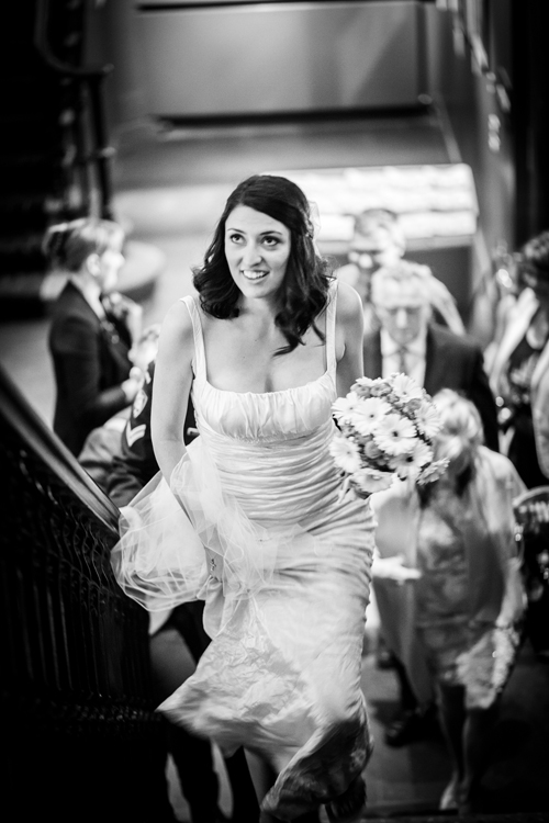 Bride on her way to meet the groom for the ceremony at the Hub in Edinburgh