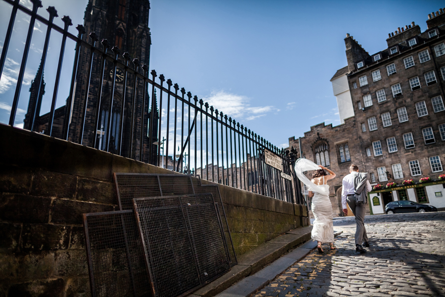 Edinburgh wedding photographer following the couple
