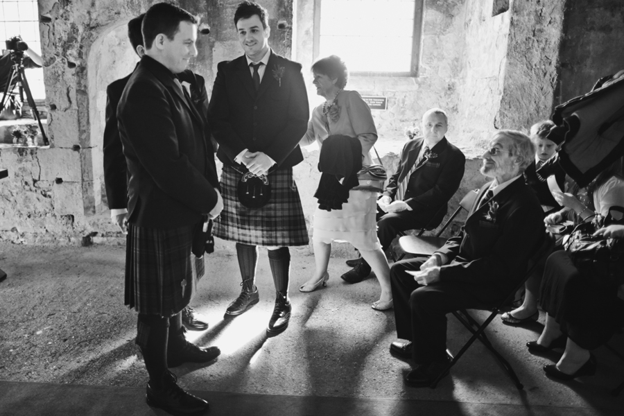 Groom and his father before the wedding ceremony on Inchcolm Island