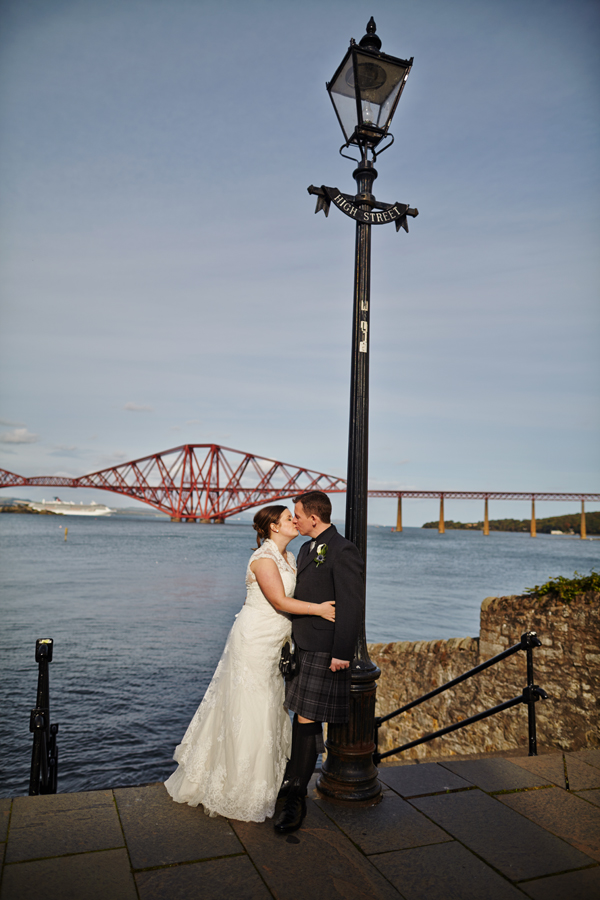 Romantic couple portraits in South Queensferry during wedding