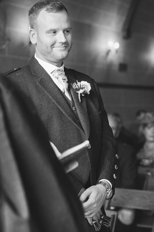 Groom at the wedding ceremony at Dalhousie Castle