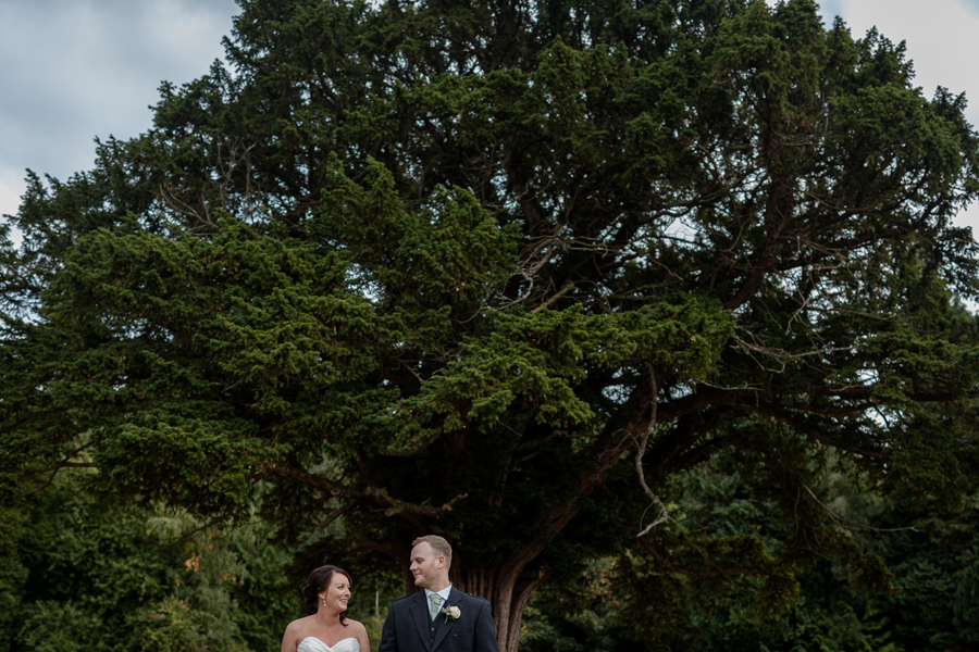 Bride and groom portraits at Dalhousie Castle