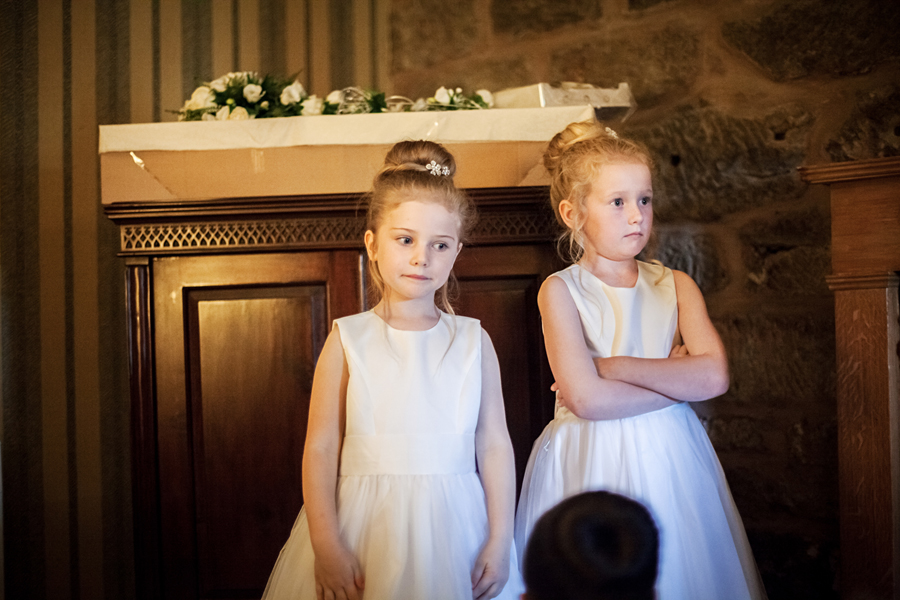 Little bridesmaids during the bridal preparations at Dalhousie Castle