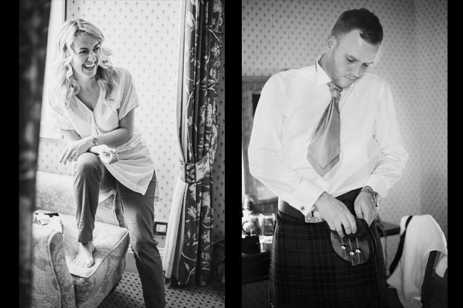 Groom getting his kilt on