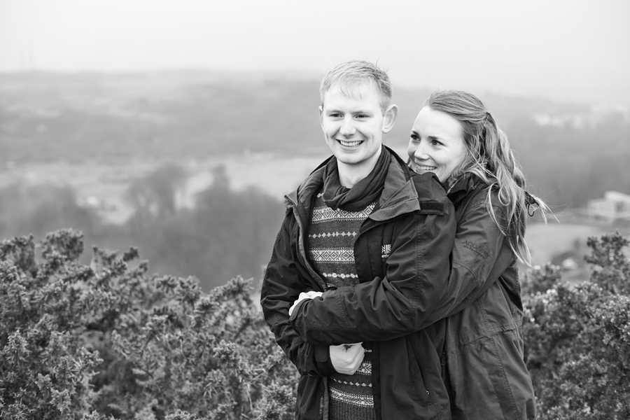Foggy, misty Edinburgh during pre-wedding photo shoot