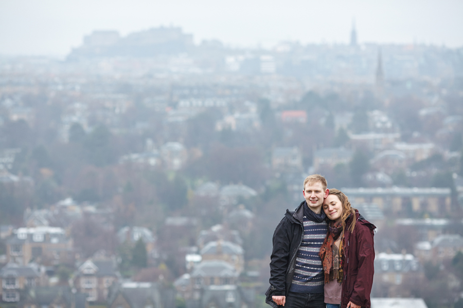 Lovely couple at Blackford Hill and Edinburgh city in the background