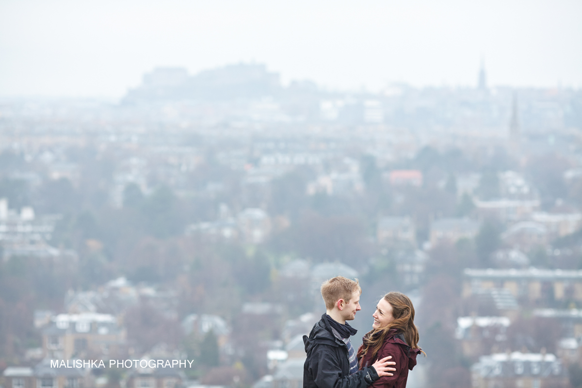 Happy couple during the pre-wedding shoot in Edinburgh at Blackford Hill