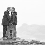 A kiss at the top of the Blackford Hill in Edinburgh during the couple photo session