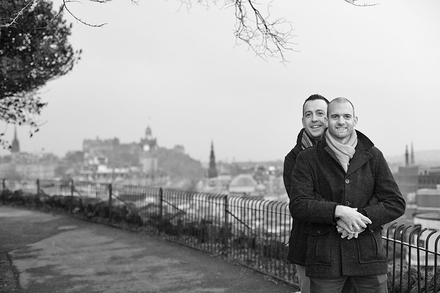 Same sex couple photo session at Calton Hill in Edinburgh
