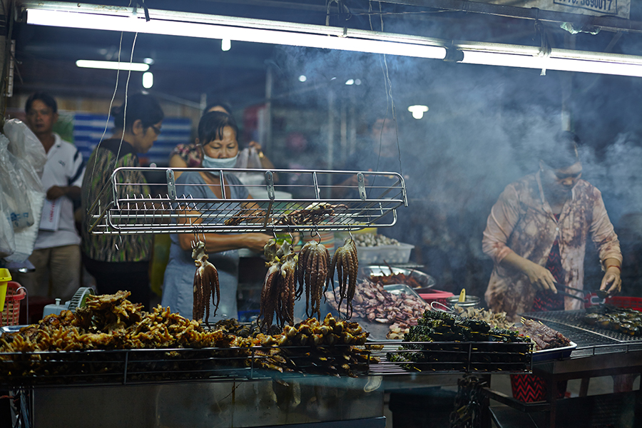 Busy street food stand in Vietnam