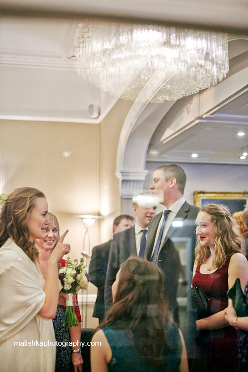 Bride and her guests at the wedding at Bruntsfield Hotel in Edinburgh