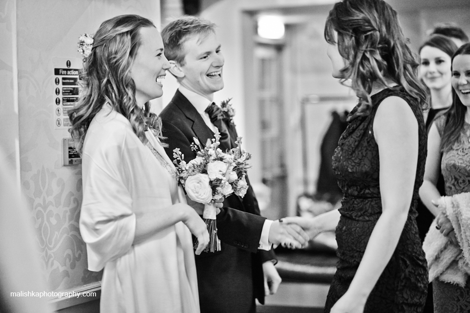 Receiving line at the wedding at Bruntsfield Hotel in Edinburgh