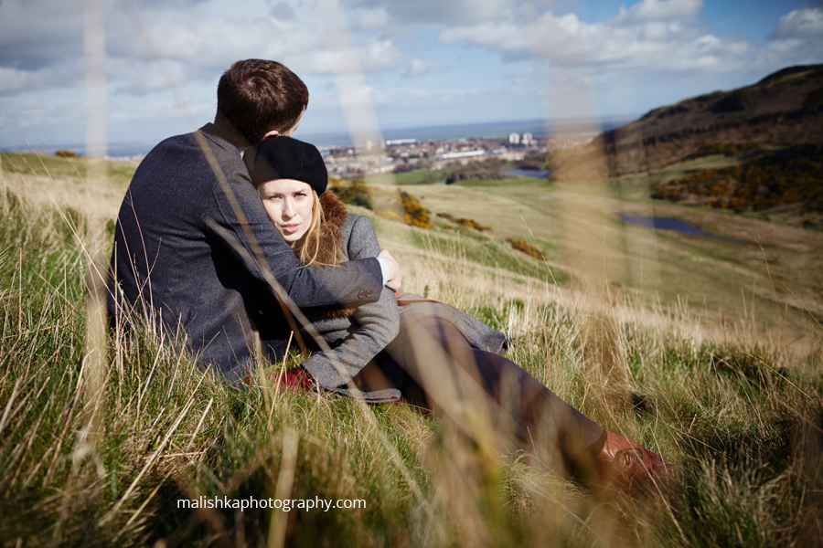 Malishka Photography capturing couple portrait in Edinburgh
