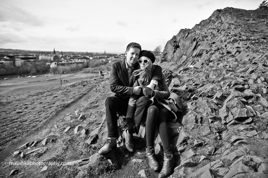 Lovely couple during photo session at Salisbury Crags in Edinburgh