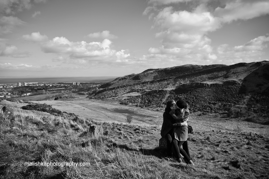 Edinburgh scenery and a kissing couple