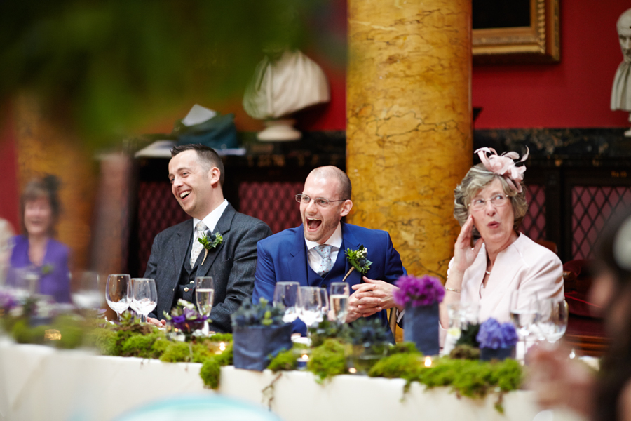 Happy couple at civil partnership at Royal College of Physicians in Edinburgh