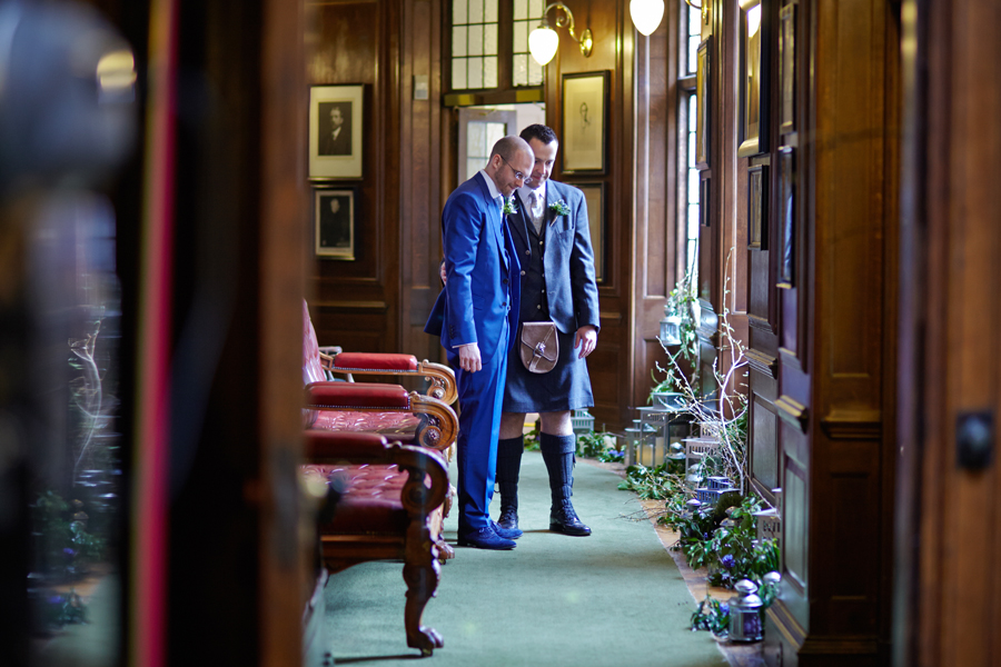 Groom and groom before the civil partnership at Royal College of Physicians in Edinburgh