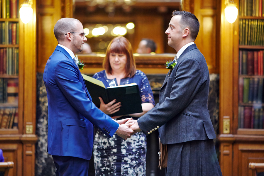Same-sex wedding ceremony at Royal College of Physicians in Edinburgh
