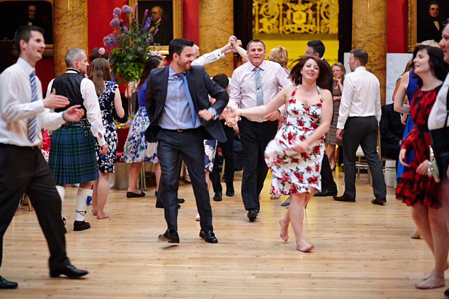 Guests dancing during wedding at Royal College of Physicians in Edinburgh