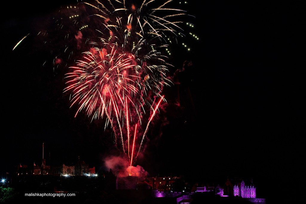 Fireworks at Edinburgh Castle during Festival 2014