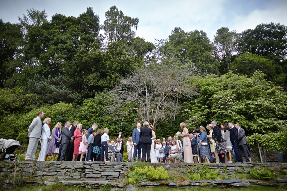 Garden wedding ceremony in Scotland at Eastwood House