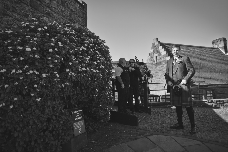 Groom at Edinburgh Castle wedding