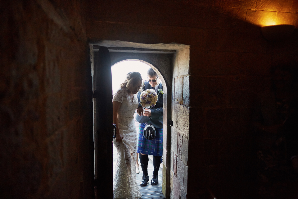 Bride at St.Marys Chapel wedding at Edinburgh Castle