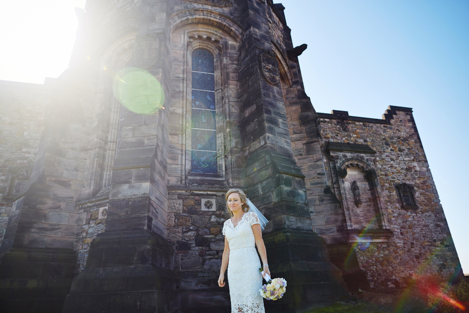 Beautiful bride at Edinburgh Castle wedding