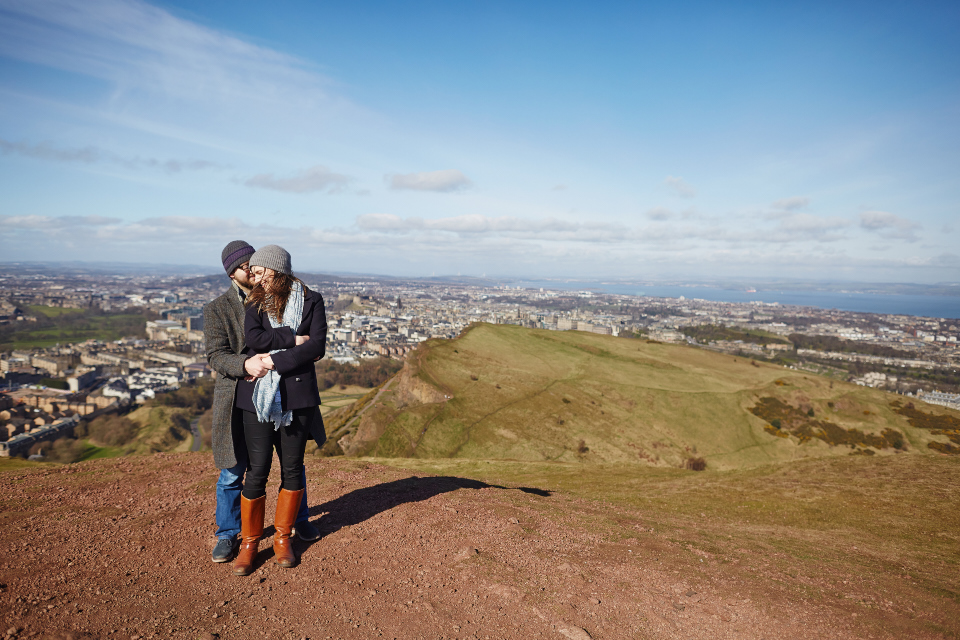 Couple session at the top of Arthur's Seat