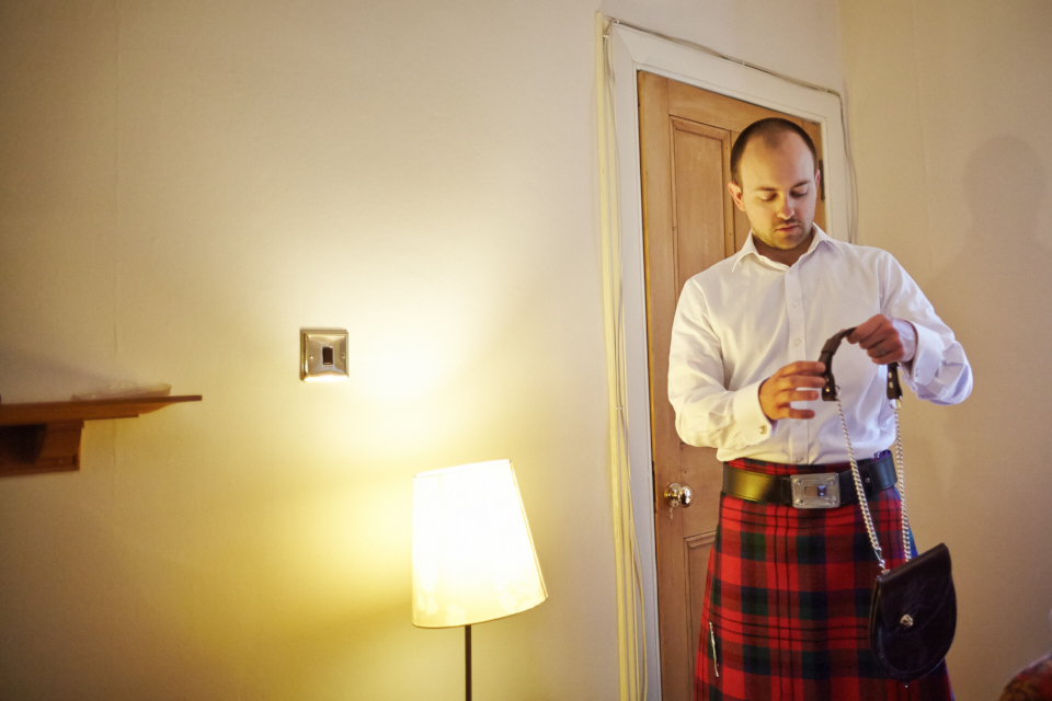 Groom getting ready in Edinburgh