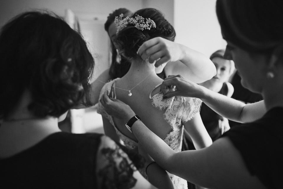 Bride and her bridesmaid at Edinburgh wedding