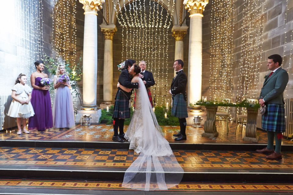 Bride and her dad hugging before the wedding ceremony at Mansfield Traquair