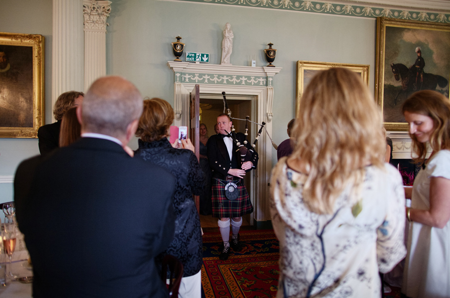 Piper leading the bride and groom at Culzean Castle Wedding