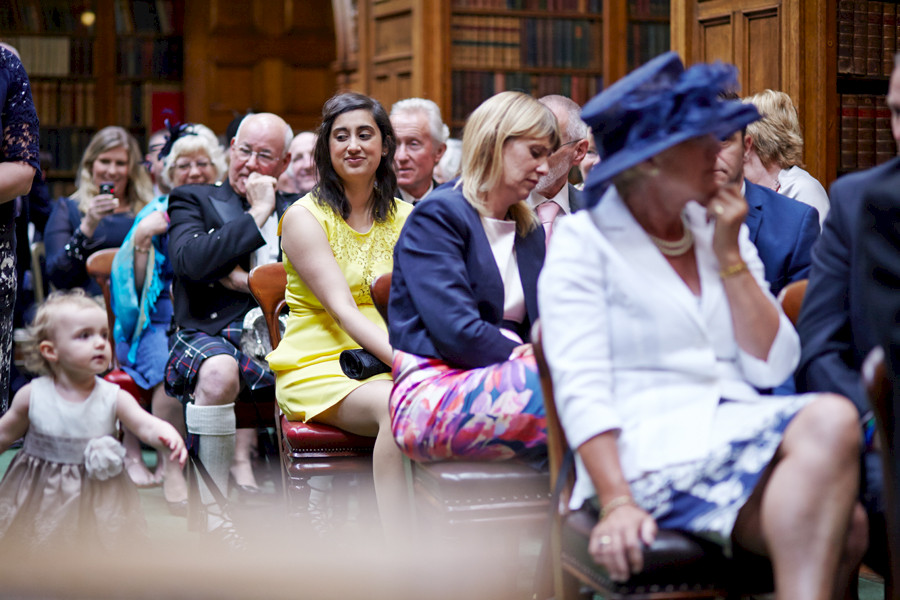 Guests awaiting for civil partnership ceremony at Royal College of Physicians in Edinburgh