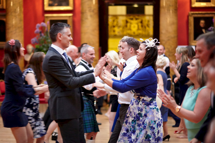 Wedding guests dancing at Royal College of Physicians in Edinburgh