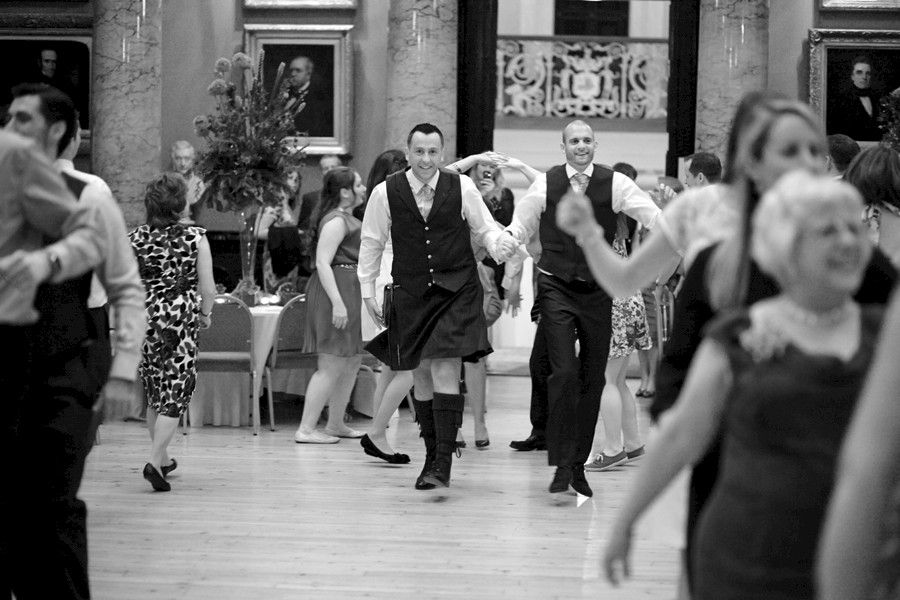 Dancing during civil partnership at Royal College of Physicians in Edinburgh
