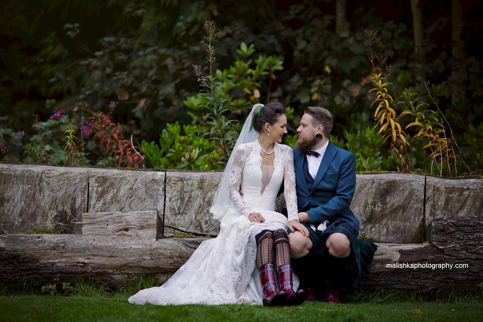 Dalhousie Castle grounds and bride and groom