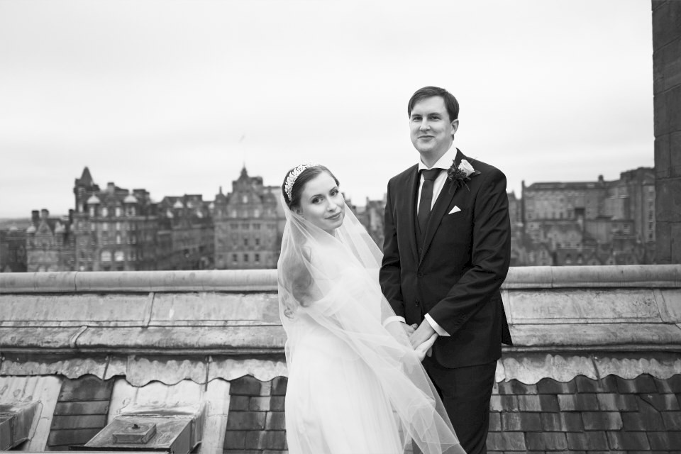 Wedding photography on the roof of the Balmoral
