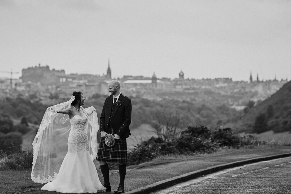 Relaxed bride and groom portraits in Edinburgh